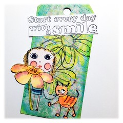 Tag Agatha with flower (Stampinkie) Tags: tag agatha rubberstamping arttag tagart distressink stampotique