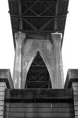 Underbody (Aaron Fredericy) Tags: bridge blackandwhite white black st metal contrast gothic cement overcast line manmade johns