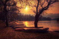 Take a rest (Pásztor András) Tags: trees winter light sunset red brown lake reflection nature water landscape boats photography golden colorful hungary leafs tones calmness andras pasztor