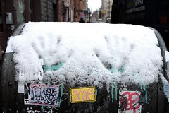 Cold hands (pburka) Tags: nyc snow mailbox hand manhattan soho stickers usps handprint