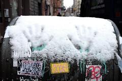 Cold hands (pburka) Tags: nyc snow mailbox hand manhattan soho stickers usps handprint