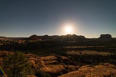 1602 Sedona in Moonlight from Cathedral Rock 02 (c.miles) Tags: arizona moon night stars sedona headlights citylights cathedralrock arizona179