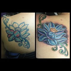 Freehand cover-up #lotus #pooch #alteredstatetattoo