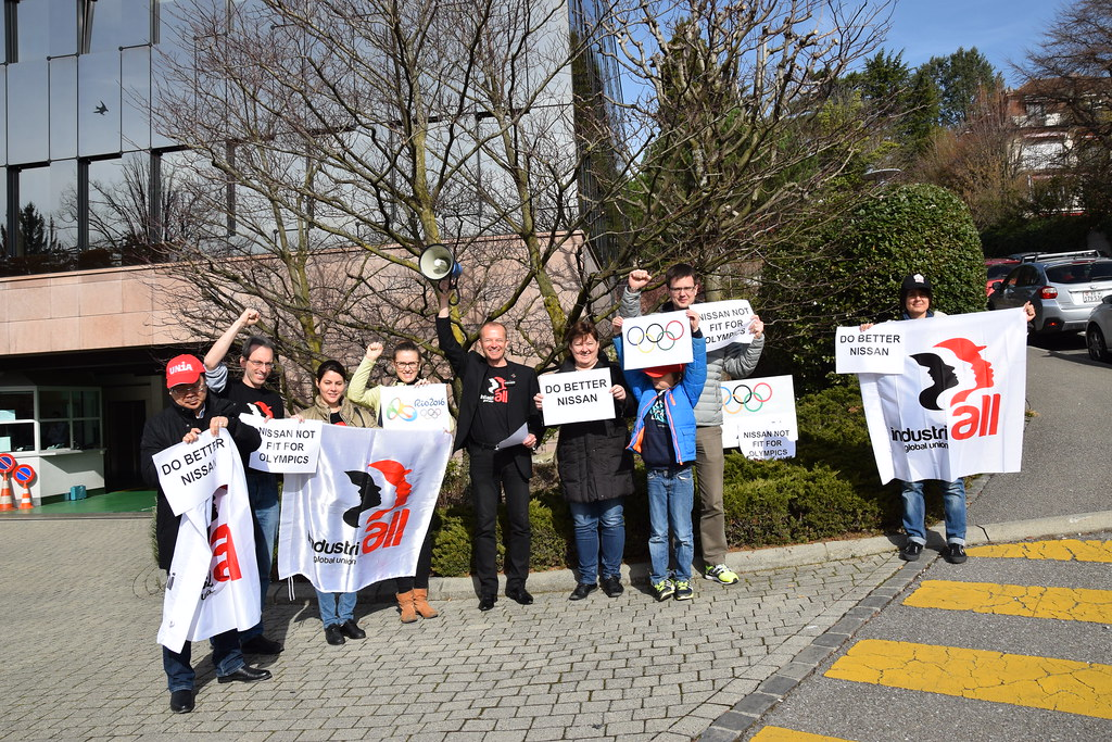 IndustriALL demonstration against Nissan outside the International Olympic Committee in Lausanne 22 February