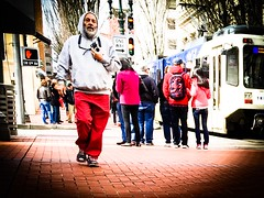 Walking In Pictures (TMimages PDX) Tags: road street city people urban buildings portland geotagged photography photo image streetphotography streetscene sidewalk photograph pedestrians pacificnorthwest avenue vignette fineartphotography iphoneography