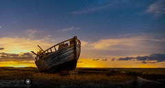 Old boat under the stars (dattenphotos) Tags: old sky seascape beach night clouds stars landscape boat wooden shingle dungeness samyang bestcapturesaoi elitegalleryaoi