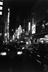 Ginza, Tokyo (fabiolug) Tags: street leica blackandwhite bw signs building cars monochrome car sign japan architecture night buildings japanese lights tokyo ginza blackwhite asia nightlights darkness cab taxi 28mm wide streetphotography rangefinder wideangle taxis neonlights monochrom cabs biancoenero elmarit leicam elmarit28mm leicaelmarit28mmf28asph elmarit28mmf28asph leicaelmarit leicaelmarit28mm mmonochrom leicammonochrom leicamonochrom