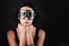 Aviator dreams (Tommy Høyland) Tags: wind portrait aviator face old googles support beauty hands young one motorcycle goggles vintage pilot girl style beautiful aviation sunglasses woman lips black makeup blow human glasses hair motorcyclegoggles