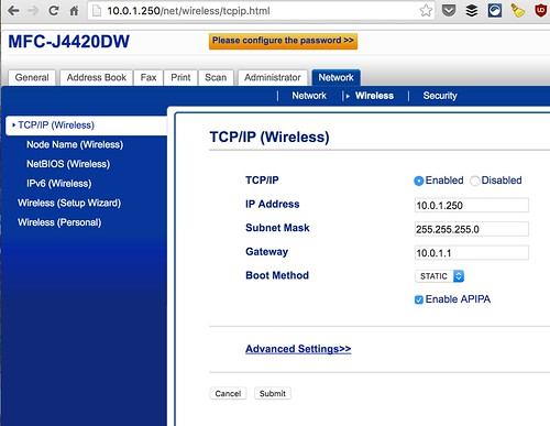 Brother Printer TCP/IP Settings by Wesley Fryer, on Flickr