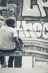 Marseille - Le penseur de la Friche (Ynosang / Synopsis) Tags: street people urban bw monochrome mono blackwhite marseille sony nb skatepark alpha a7 urbain massilia hexanon friche synopsis belledemai ynosang