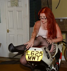 Sarah_4275 (Fast an' Bulbous) Tags: summer england woman hot sexy stockings girl bike hair high nikon long flash curves gimp babe curvy chick redhead mature motorcycle yamaha heels 50 milf jap stilettos superbike d7100