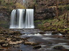Person in the waterfall (jeff.dugmore) Tags: park wood trees wales river rocks walk hike national brecon beacons yr eira sgwd afon ystradfellte mellte