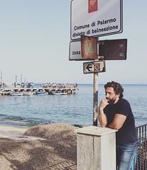Ulisse 2016 (giuliamonteleone) Tags: sea man spring palermo sicilia mondello divieto pensatore