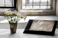 92/366 Serenity -  366 Project 2 - 2016 (dorsetpeach) Tags: flowers england church worship bible vase 365 chancel stleonards freesia 2016 366 witlshire suttonveny aphotoadayforayear 366project second365project