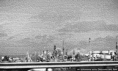 Subconscious Refinery (sjrankin) Tags: california northerncalifornia edited richmond sanfranciscobayarea i80 grayscale refinery processed filtered oilrefinery richmondcalifornia 3april2016