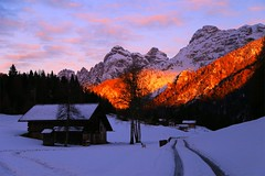 Cold Fire _MG_2874m(1) (maxo1965) Tags: winter sunset snow trail trentino dolomites alpenglow tonadico primiero transacqua