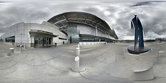 San Francisco Airport Exterior (sjrankin) Tags: sanfrancisco california panorama cars northerncalifornia exterior edited sanfranciscoairport 11april2016