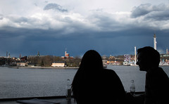 Can you see the bird? (ulricaloeb) Tags: sky love couple stockholm silouette siluetter fotosondag iskyn fs160424