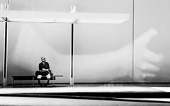 Los Angeles (kirstiecat) Tags: california shadow blackandwhite reflection window monochrome america reading book la us losangeles waiting stranger literature monochromemonday manythankstolindsey