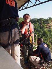 Giorgio preparing to Bungy Jump (little_duckie) Tags: africa zimbabwe bungy bungee zambezi bungyjump zambeziriver 111metres