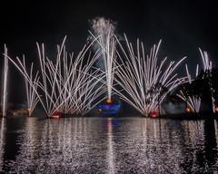 Day 24 - Illuminations Cruise (floridaplunge) Tags: longexposure white lake reflection water night outside boat orlando epcot nikon florida fireworks disney tokina pyro magickingdom animalkingdom longexp hollywoodstudios d3100