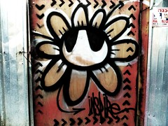 """Urban Botany"" - INSPIRE (detail) (www.InspireCollective.com) Tags: road street flowers red urban white streetart black flower art public metal wall work silver graffiti design site construction stencil icons paint artist symbol expression character tel aviv letters paintings arts icon east chrome barrier spraypaint freehand walls roads blooms middle aerosol inspire eastern surfaces artworks sites reuse symbology itw inspireyourself freedomcomesfromselfdeterminedactivity"