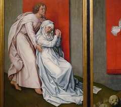 Van der Weyden, The Crucifixion, with the Virgin and Saint John the Evangelist Mourning, Detail with John and Mary