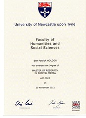 Ben Holden Masters degree in Digital Media