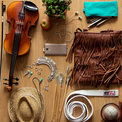 Who I am (Marloes263) Tags: world music brown plant texture me apple hat bag belt globe phone turquoise honor 7 jewelry textures violin stuff brushes aikido strawhat etui huawei
