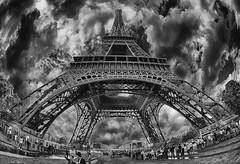 Eiffel Tower (bainebiker) Tags: sky paris france monochrome eiffeltower structure champdemars hdr stormyweather steelwork greatphotographers canon15mmfisheyelens turbulentsky greaterphotographers