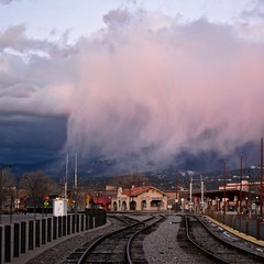 Storm Brewing? (suenosdeuomi) Tags: storm newmexico santafe clouds depot railyard canons90