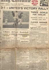 Manchester Evening Chronicle 1939 (Leslie Millman-Manchesterunitedman1) Tags: blackpool manchesterunited bloomfieldroad manchestereveningchronicle