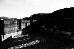 IMG_2865 (dcdnc) Tags: bridge building art water monochrome wall architecture modern stairs contrast landscape lot pont cahors
