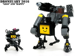"Bounty Hunter Duo ""Legs"" and ""Happy"" (Droneuary 2016) (ExclusivelyPlastic) Tags: robot lego military hunter bounty drones mercenary droneuary"