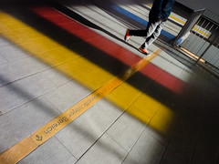 On your marks ... (uneitzel) Tags: shadow man colour lines station person metro hamburg diagonal ubahn mann farbe schatten linien feldstrase olympusem5 mzuiko1250mm