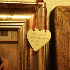Day 037/366 (hanj_16) Tags: wood inspiration love home project gold frames friendship heart quote happiness olympus laughter ribbon 365 366