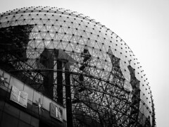 Steel ball [Shanghai Streets] (AJ.L) Tags: china urban net architecture modern clouds shopping bars shanghai no steel engineering super center structure sphere jungle dome iconic complex offices spherical complicated distinct
