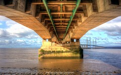 Under the Second Severn Crossing (AreKev) Tags: under sunlight secondseverncrossing ailgroesfanhafren m4 motorway river severn bridge riversevern severnestuary severnbeach southgloucestershire england uk hdr photomatixpro sonycybershot sony cybershot sonydscrx100 dscrx100 tonemapped