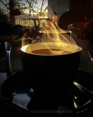 and now ....a beautiful cup of coffee! .... (Fay2603) Tags: light black hot cup coffee yellow steam inside lightning