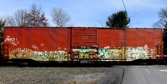 grips - wyse - mtizy - cozy '07 (timetomakethepasta) Tags: trees plant train graffiti cozy mt boxcar bonus freight grips wyse a2m baex mtizy