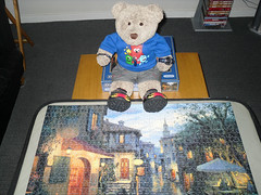 Dunnit! (pefkosmad) Tags: bear street ted cute art rain painting toy stuffed funny soft artist teddy hobby plush puzzle gibsons leisure jigsaw russian aftertherain pastime magicevening tedricstudmuffin evgenylushpin eugenelushpin