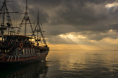 Ready to sail (KostasTsiaousis) Tags: light sunset sea sun clouds golden boat ship god hour pirate sail thessaloniki rays hdr timeless macedonian makedonia   macedoniagreece