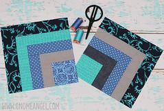 gnomeangel-quarter-log-cabin-do-good-stitches-march-2016 (gnomeangel) Tags: blue modern aqua quilt teal navy patchwork quiltling beeblocks gnomeangel