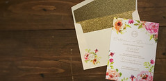 Colleen & Daniel (dulynotedstationery) Tags: flowers wedding gold invitation watercolour halifax invite
