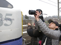 Shoot a swan, a discontinued train named Hakucho (fukapon) Tags: people canon photographer aomori tweet  powershots110  kanita  flickrandroidapp:filter=none