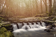 Stepping Stones... (fearghal breathnach) Tags: longexposure light colour water forest river haze stones steppingstones weir haida tollymoreforest sunhaze rivershimna