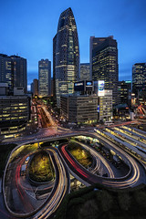 Shinjuku (David Bertho) Tags: voyage city travel urban panorama japan high shinjuku view traffic trails panoramic bluehour japon tourisme blend ciseaux odakyu