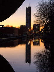 Trellick Tower (Joe Dunckley) Tags: uk sunset england reflection building london water silhouette architecture canal westway trellicktower brutalism towerblock westlondon grandunioncanal northkensington kensingtonandchelsea