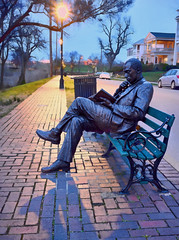 reading by streetlight (haglundc) Tags: light statue night photoshop bench book streetlight kentucky tripod read newport layers bluehour parkbench ohioriver riversidedr jamesbradley sel35f28z ilce7r