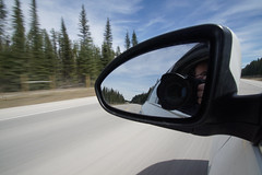 The Road I Must Travel (ryan.kole32) Tags: road camera trees nature car clouds forest landscape mirror nationalpark movement highway bc cloudy britishcolumbia bluesky chevy alberta transportation vehicle sidemirror beautyinnature chevycruze sonya77